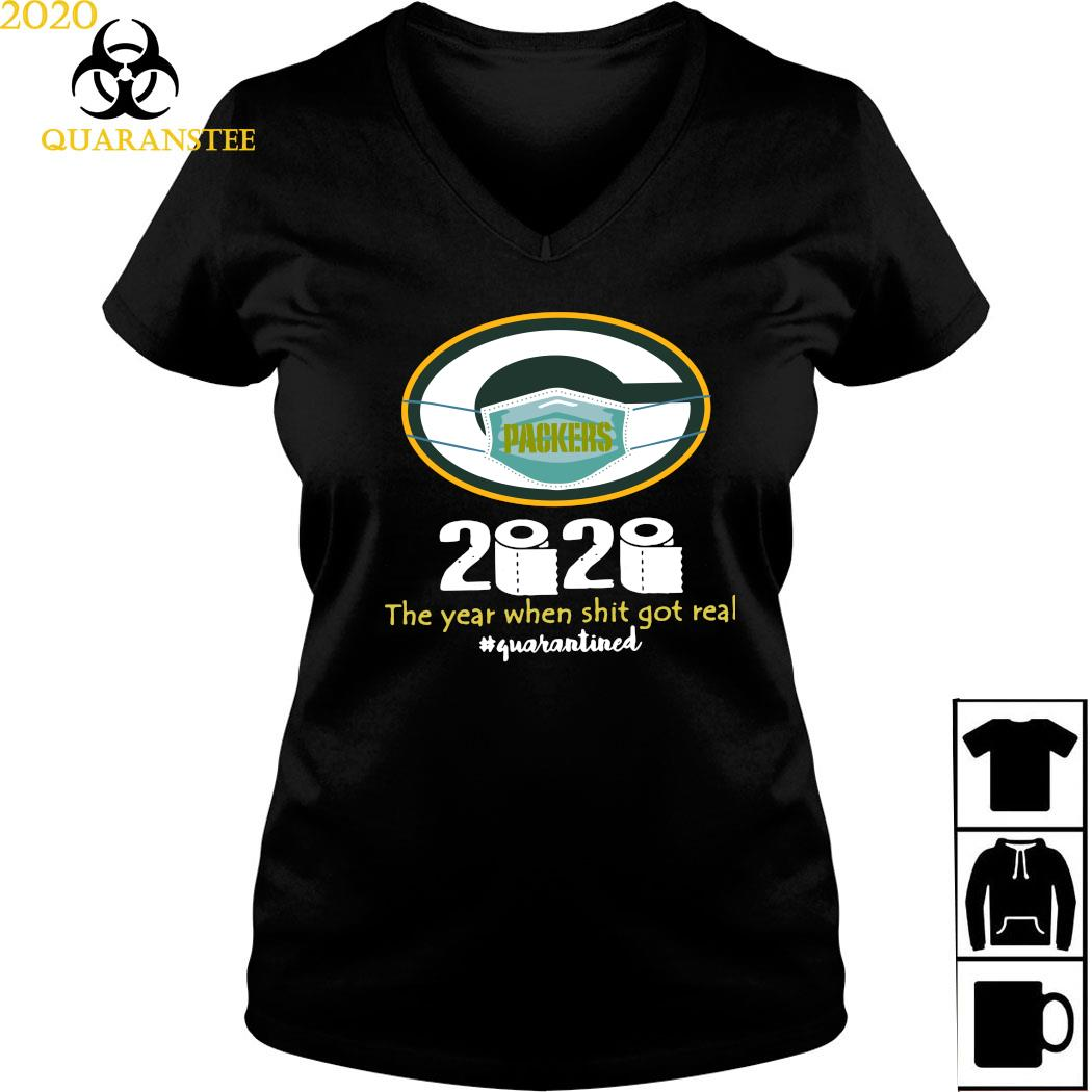 Green Bay Packers Mask 2020 The Year When Shit Got Real Quarantined Shirt Ladies V-neck