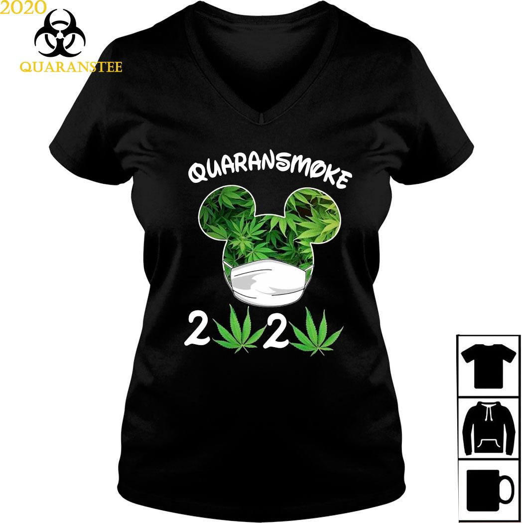 Mickey Mouse Cannabis Quaransmoke 2020 Shirt Ladies V-neck