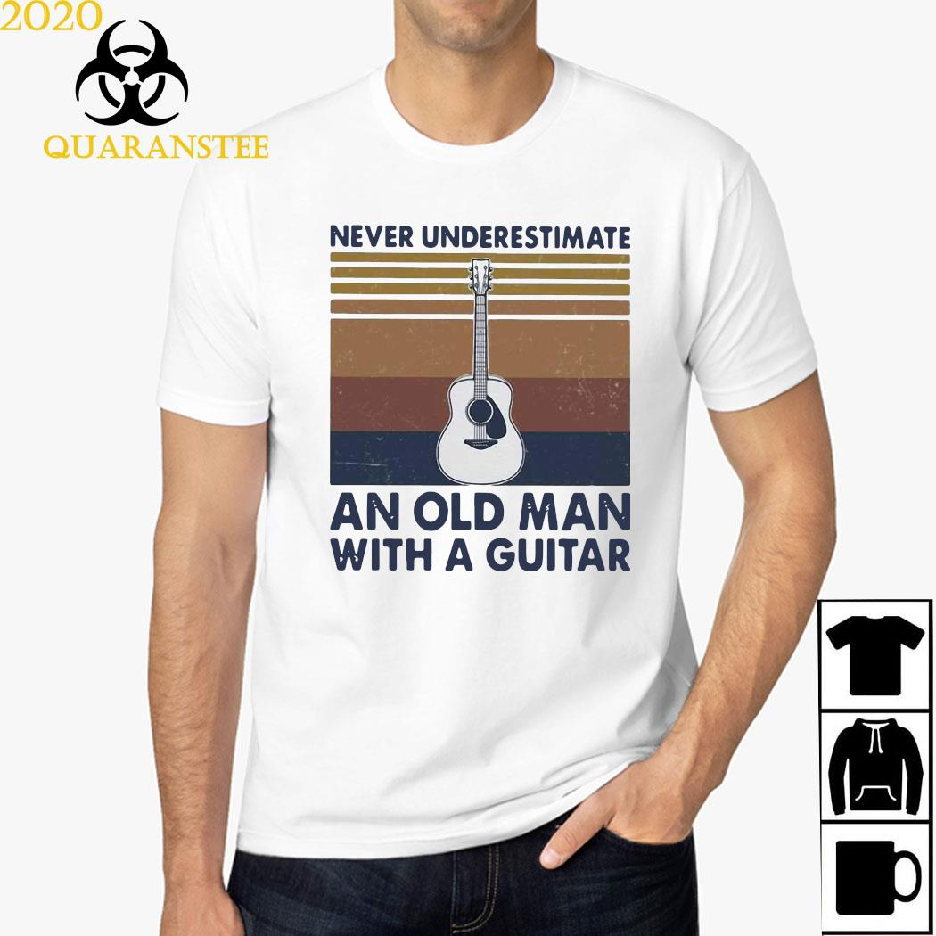 Never Underestimate An Old Man With A Guitar Vintage Shirt