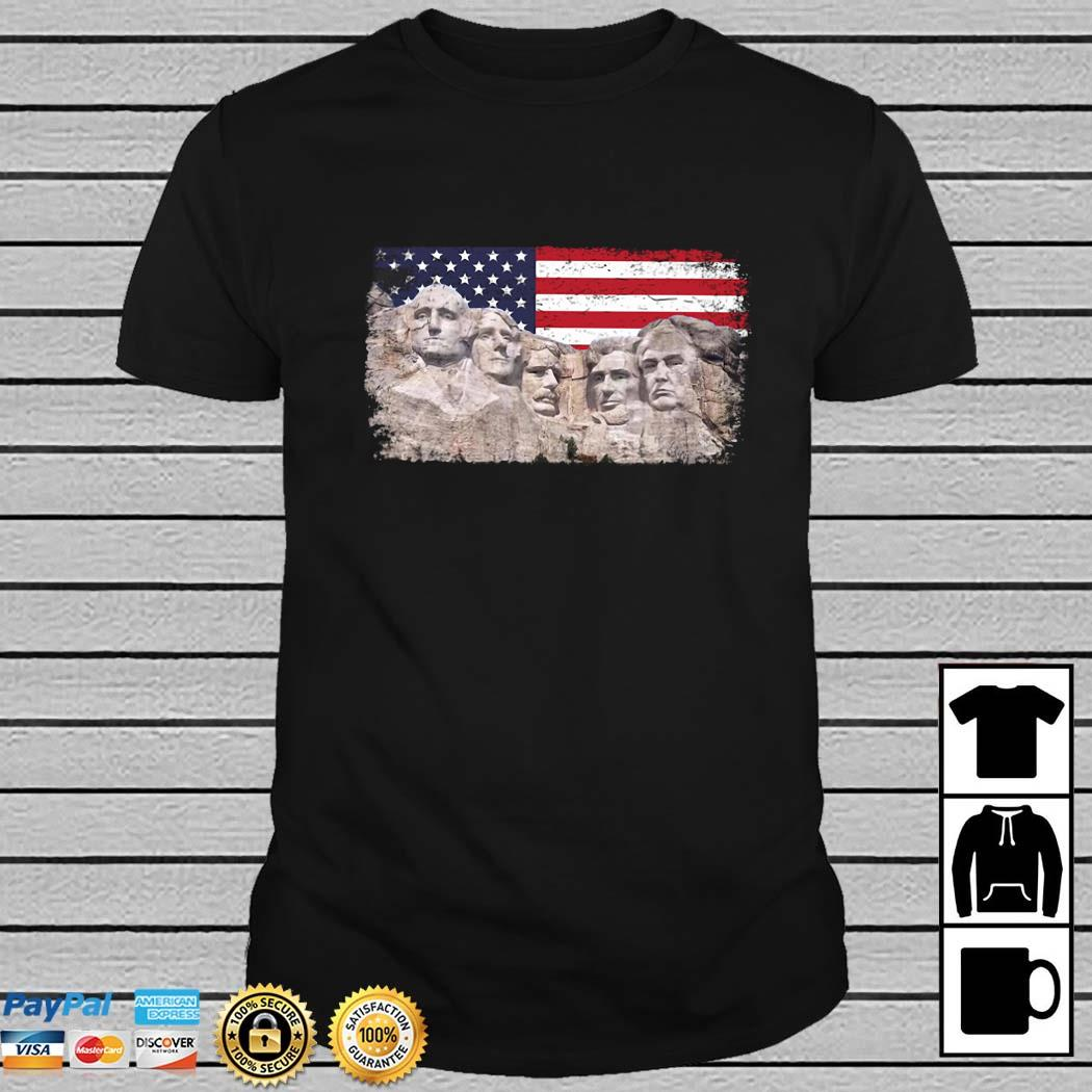 45th Added To Rushmore Mount American Flag Shirt