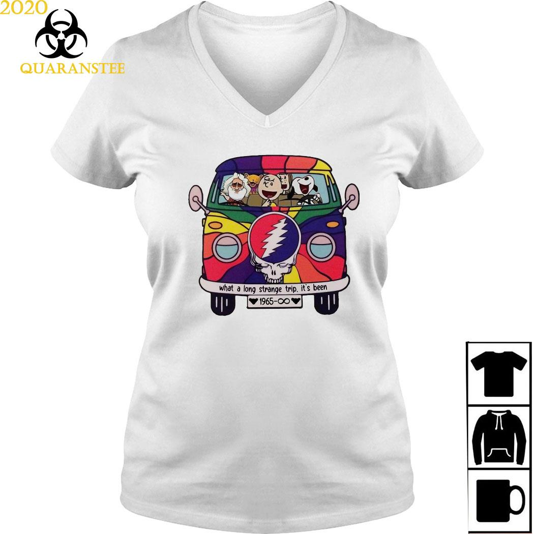Snoopy Grateful Dead What A Long Strange Trip It's Been 1965 Shirt Ladies V-neck