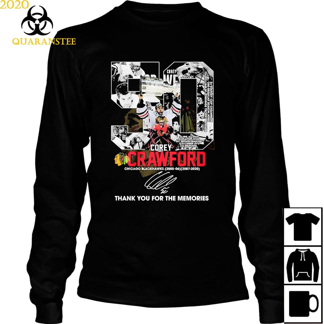 50 Corey Crawford Chicago Blackhawks Thank You For The Memories Shirt Long Sleeved