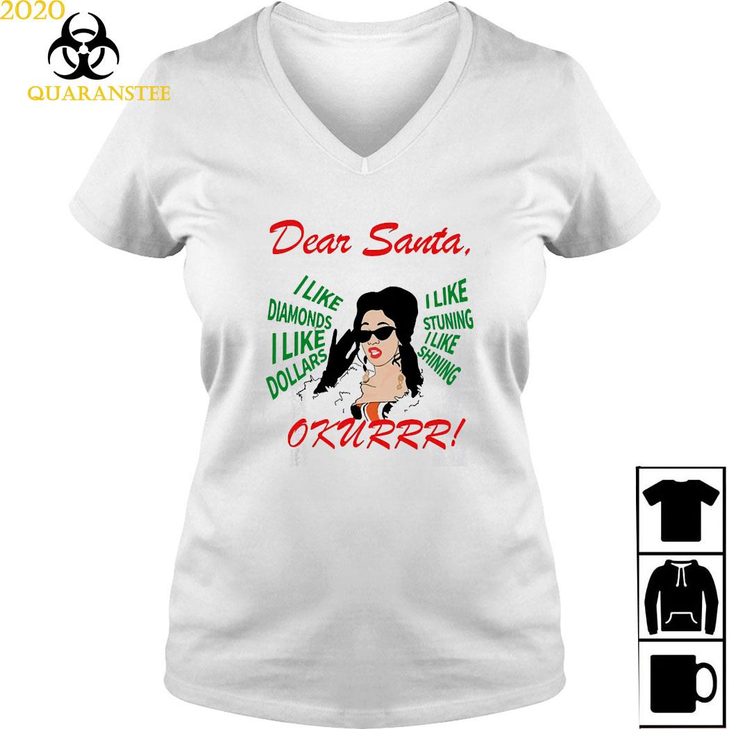 Cardi B Dear Santa I Like Diamonds I Like Dollars Shirt Ladies V-neck