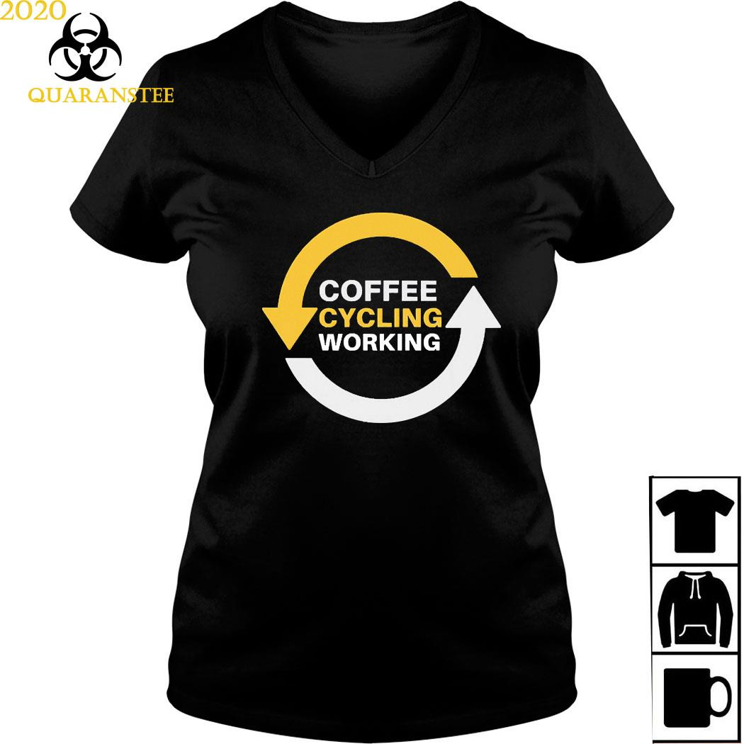 Coffee Cycling Working Repeat Sports MTB Bikers Triathlon Shirt Ladies V-neck