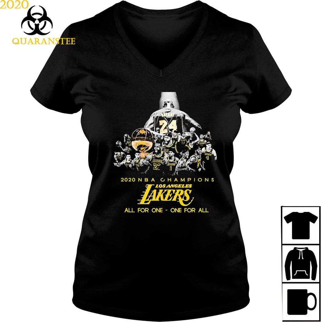Kobe Bryant 2020 NBA Champions Los Angeles Lakers All For One One For All Shirt Ladies V-neck