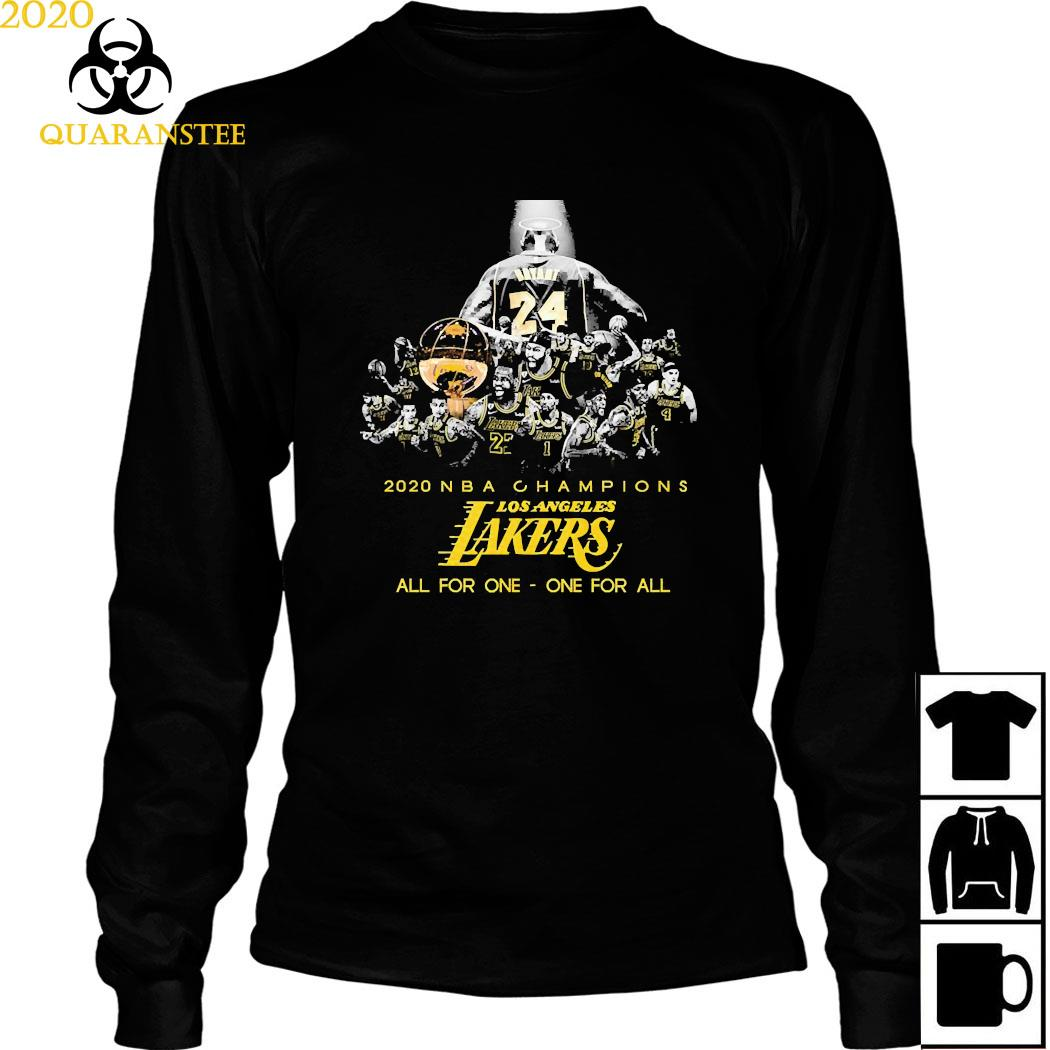 Kobe Bryant 2020 NBA Champions Los Angeles Lakers All For One One For All Shirt Long Sleeved