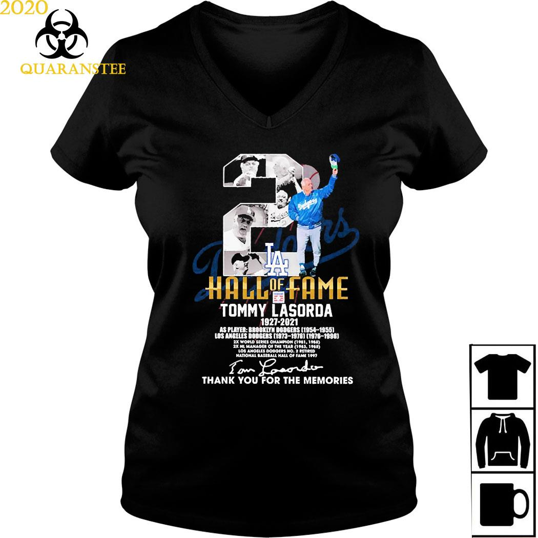 2 Hall Of Fame Tommy Lasorda 1927 2021 Thank You For The Memories Signature Shirt Ladies V-neck