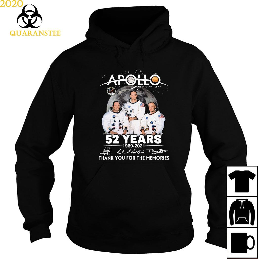 Apollo Next Giant Leap 52 Years 1969 2021 Thank You For The Memories Signatures Shirt Hoodie