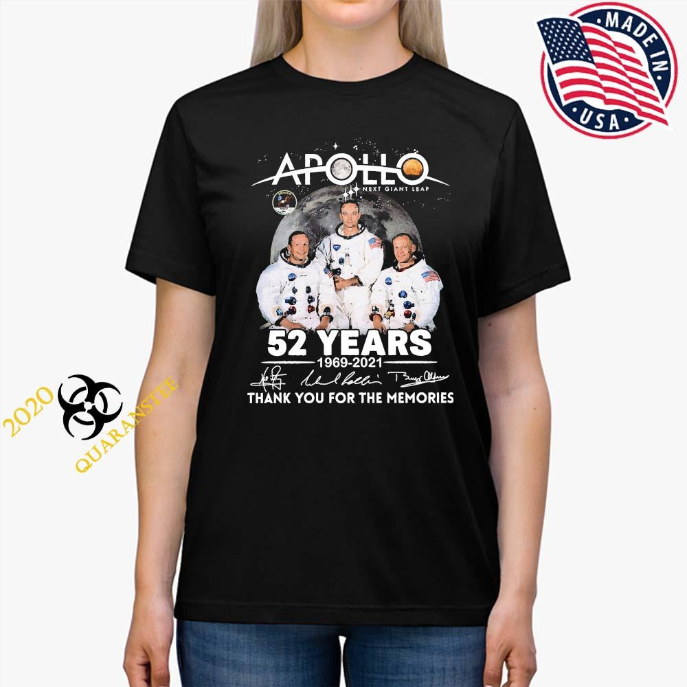 Apollo Next Giant Leap 52 Years 1969 2021 Thank You For The Memories Signatures Shirt Ladies Tee