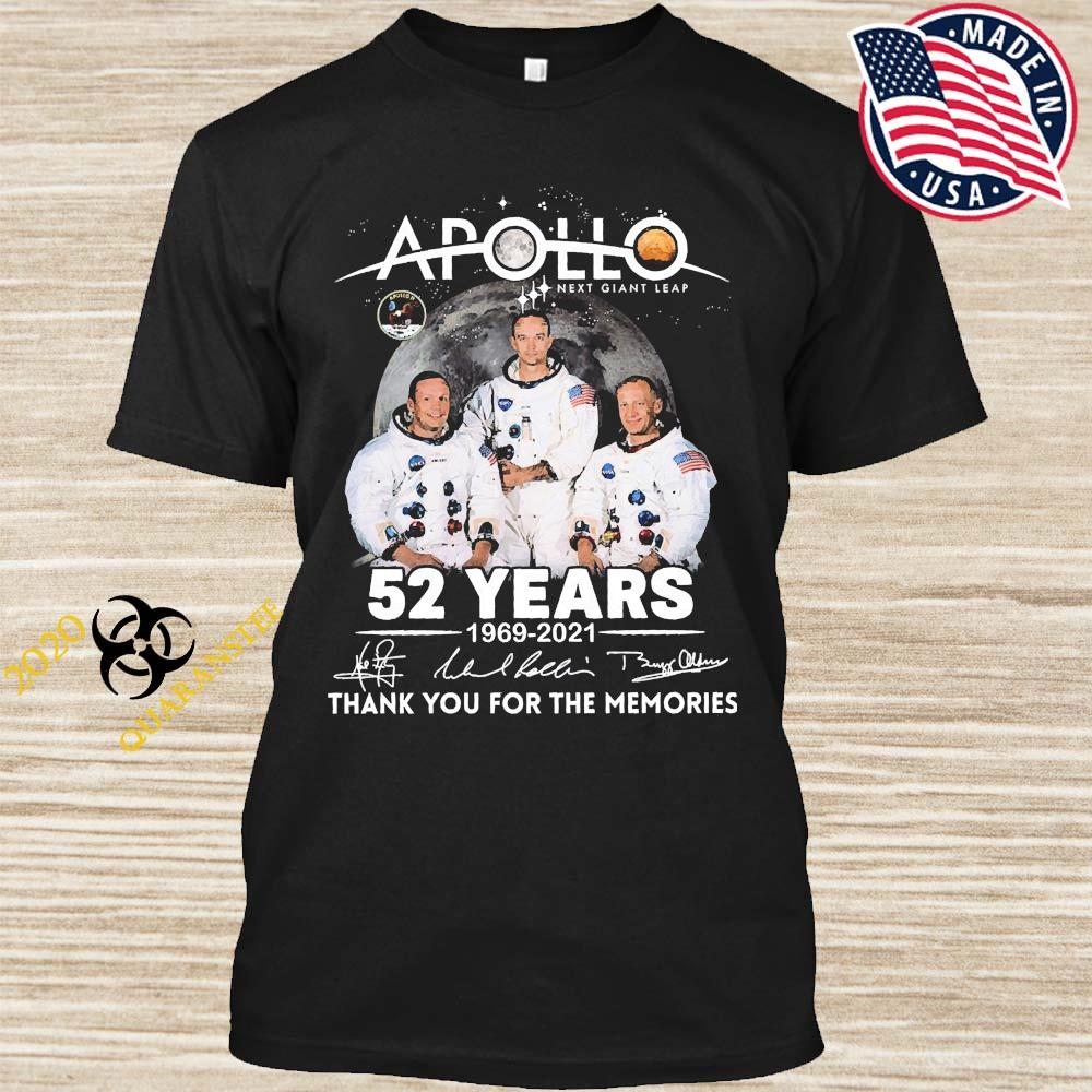 Apollo Next Giant Leap 52 Years 1969 2021 Thank You For The Memories Signatures Shirt