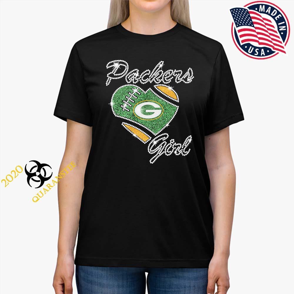 Diamond Heart Green Bay Packers Girl Shirt Ladies Tee