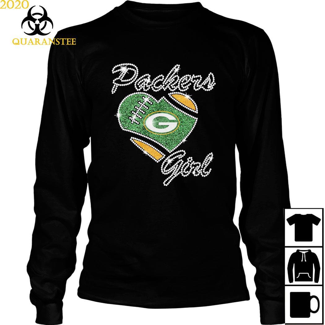 Diamond Heart Green Bay Packers Girl Shirt Long Sleeved