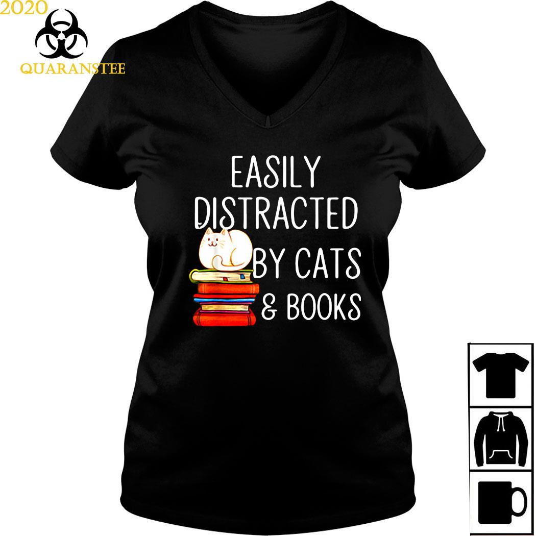 Easily Distracted By Cats And Books Shirt Ladies V-neck