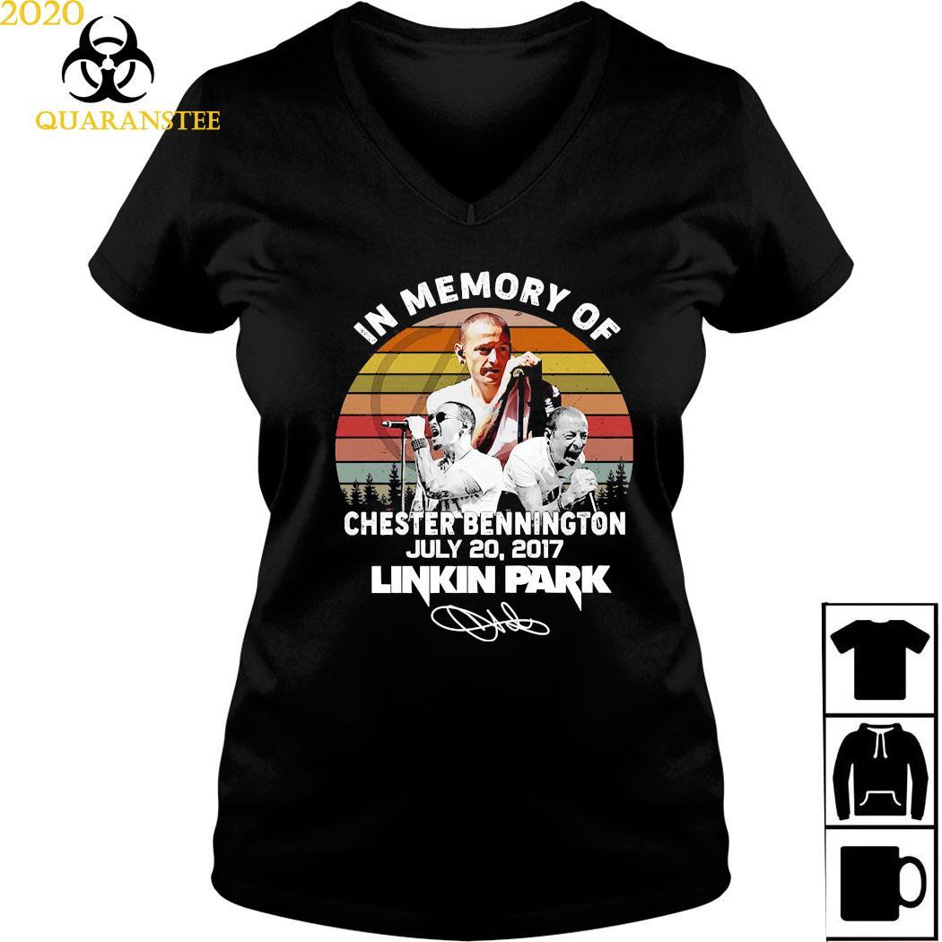 In Memory Of Chester Bennington July 20 2017 Linkin Park Signature Vintage Shirt Ladies V-neck