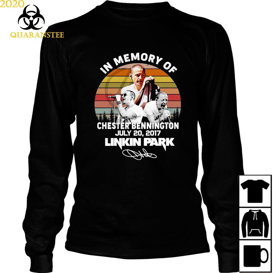 In Memory Of Chester Bennington July 20 2017 Linkin Park Signature Vintage Shirt Long Sleeved