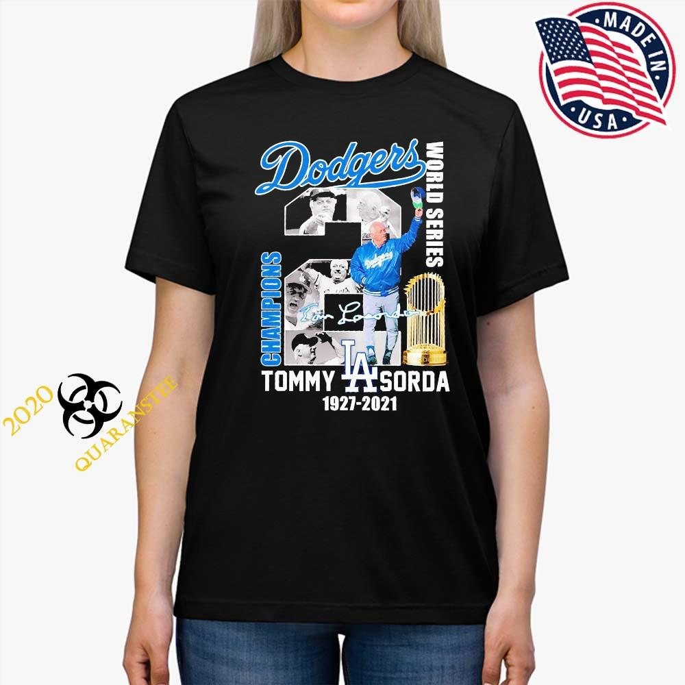 Los Angeles Dodgers Tommy Sorda 1927 2021 Signature Shirt Ladies Tee