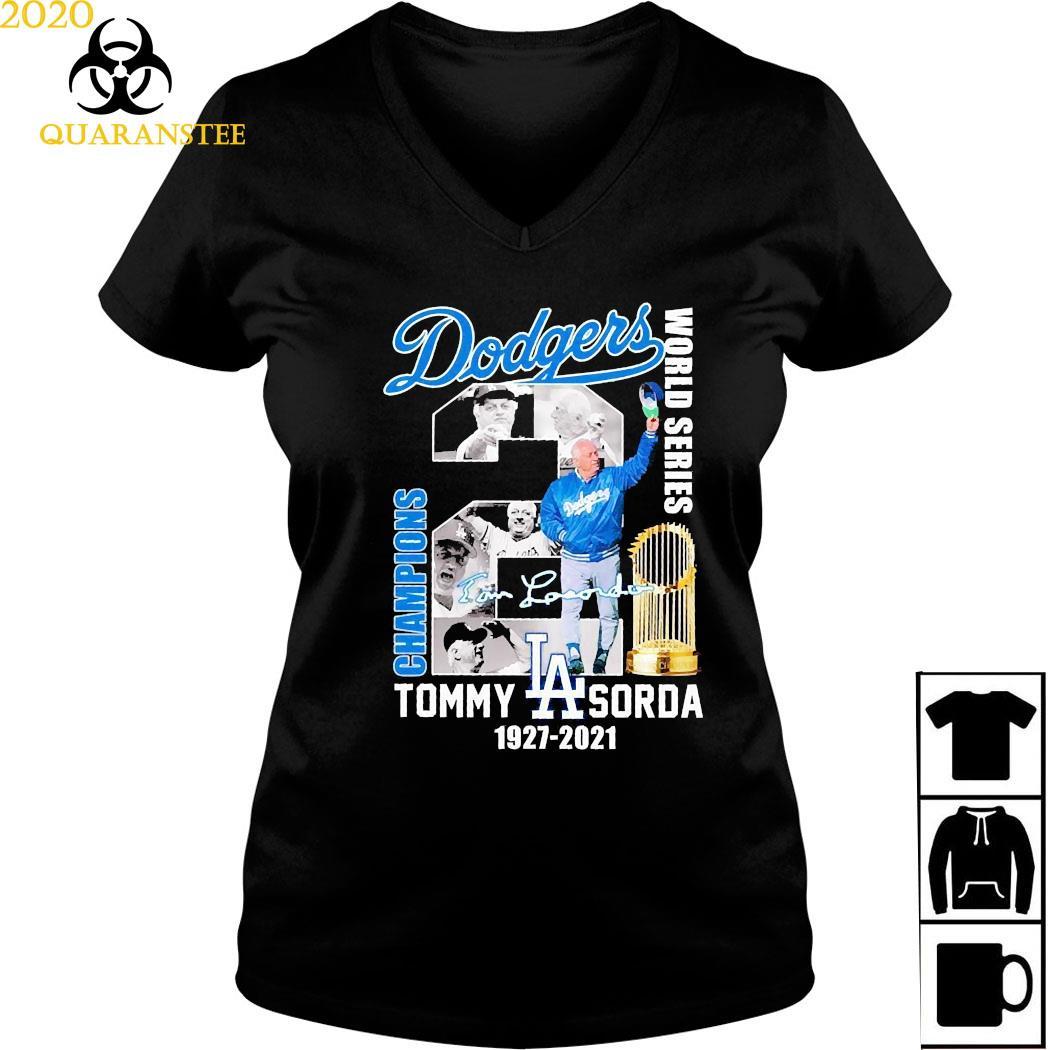 Los Angeles Dodgers Tommy Sorda 1927 2021 Signature Shirt Ladies V-neck