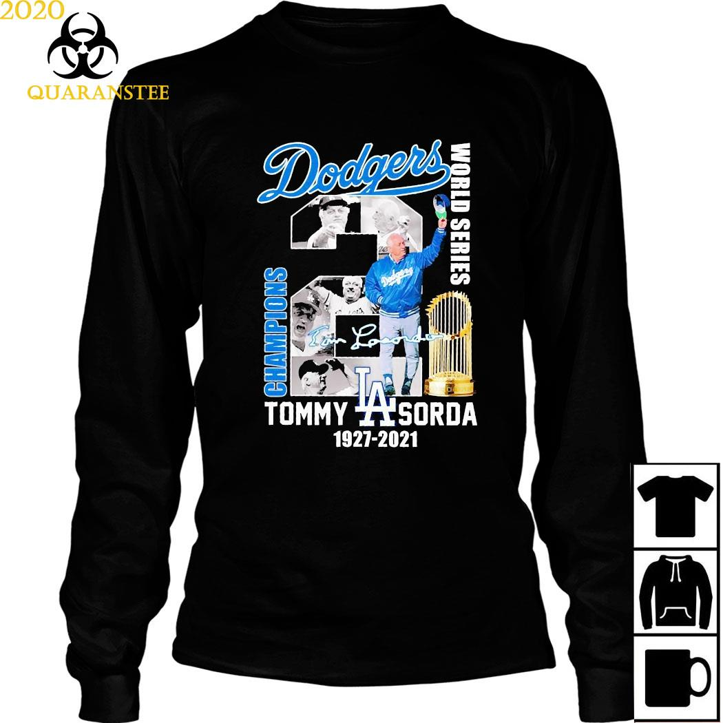 Los Angeles Dodgers Tommy Sorda 1927 2021 Signature Shirt Long Sleeved
