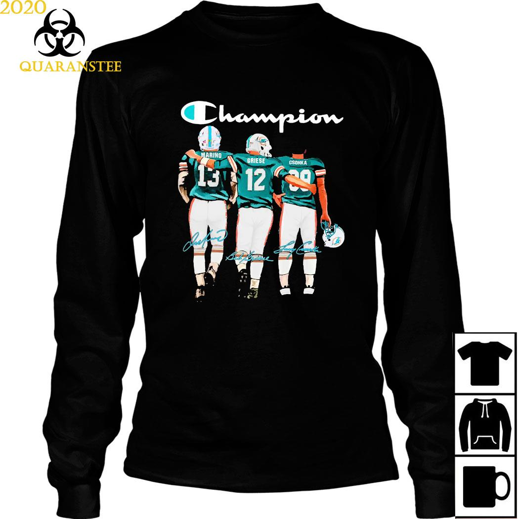 Miami Dolphins Marino Griese And Csonka Champion Signatures Shirt Long Sleeved