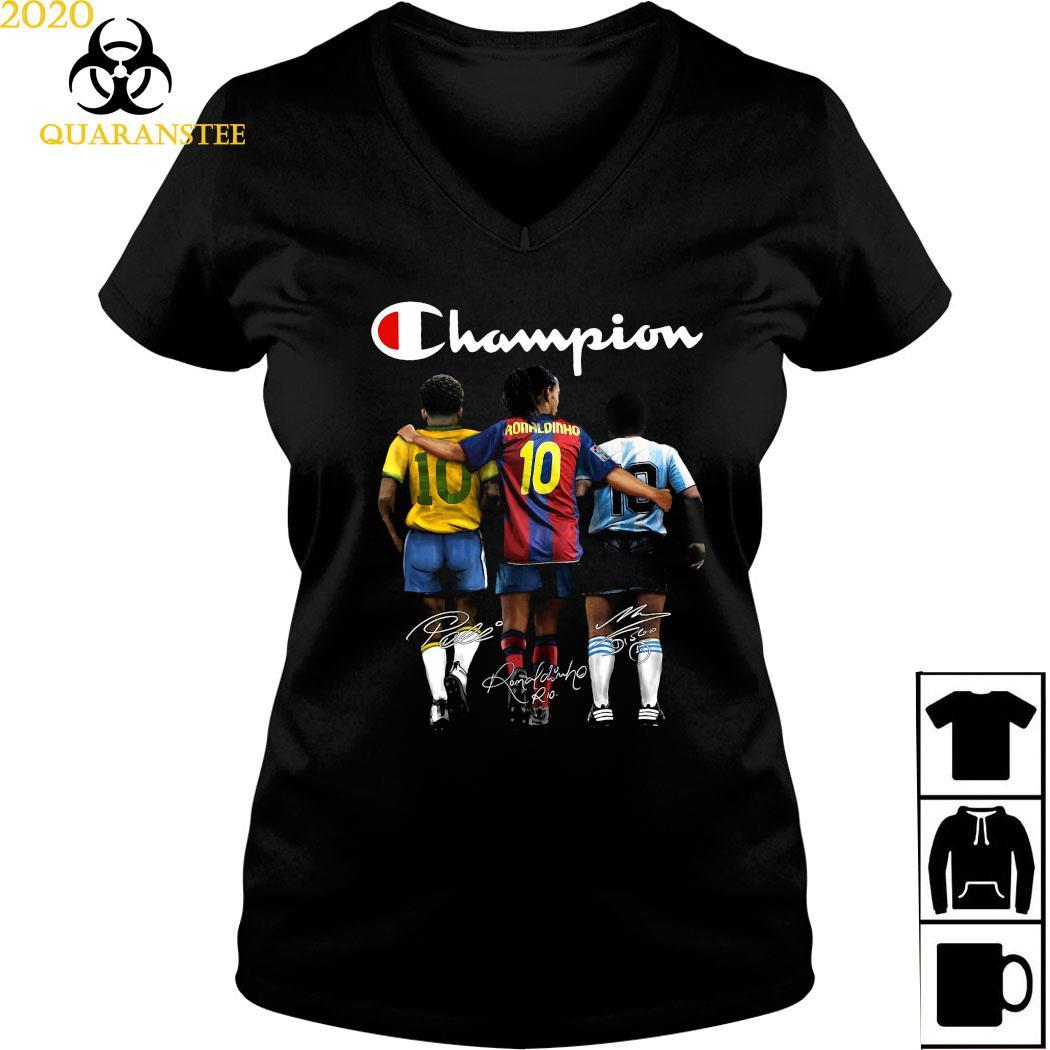 Pele Ronaldinho And Diego Maradona Champion Signatures Shirt Ladies V-neck