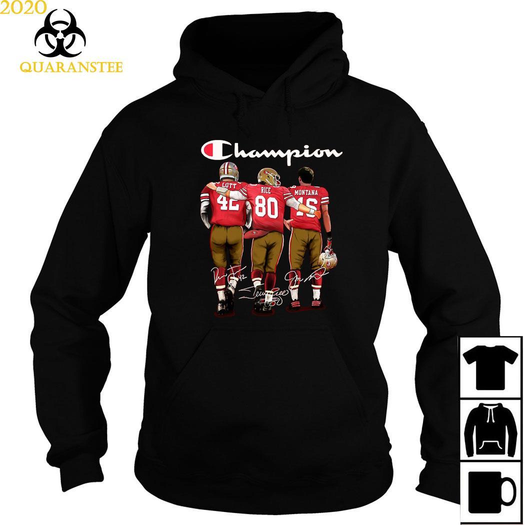 San Francisco 49ers Lott Rice And Montana Champion Signatures Shirt Hoodie