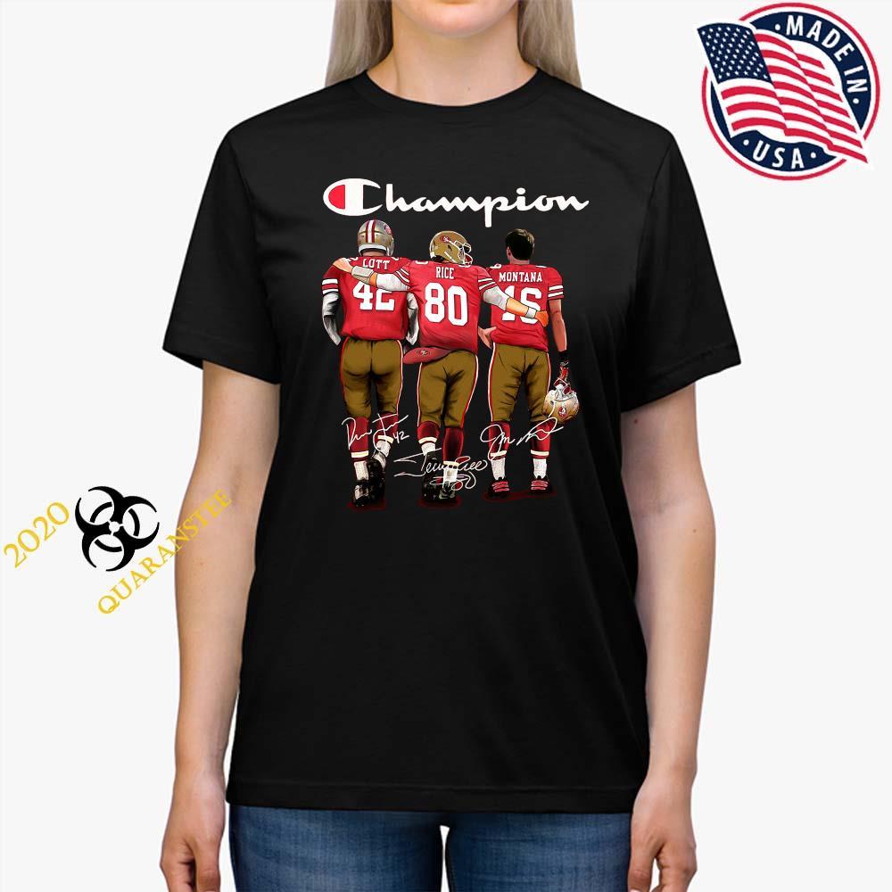 San Francisco 49ers Lott Rice And Montana Champion Signatures Shirt Ladies Tee