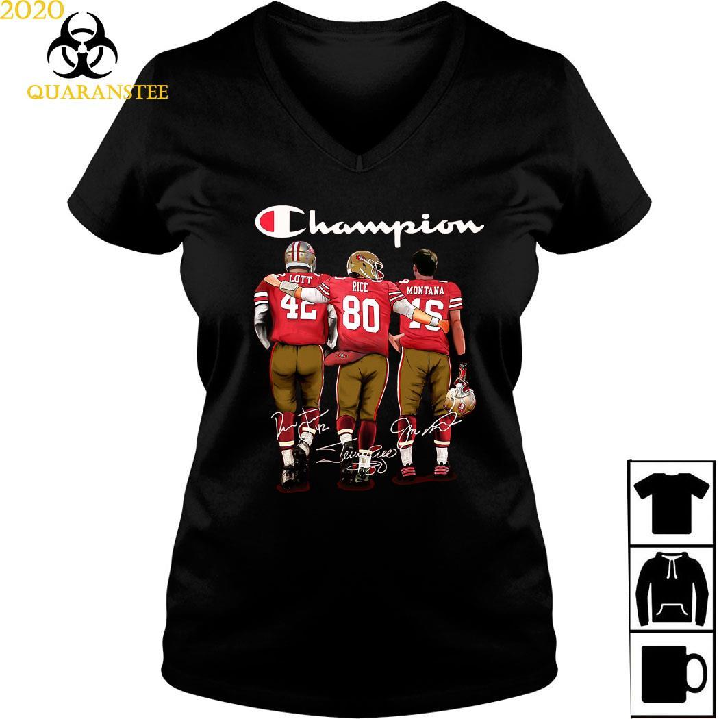 San Francisco 49ers Lott Rice And Montana Champion Signatures Shirt Ladies V-neck