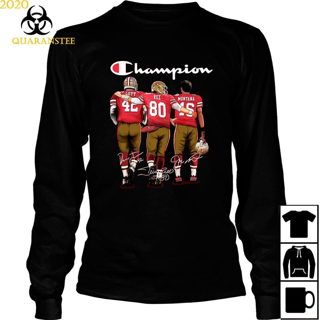 San Francisco 49ers Lott Rice And Montana Champion Signatures Shirt Long Sleeved