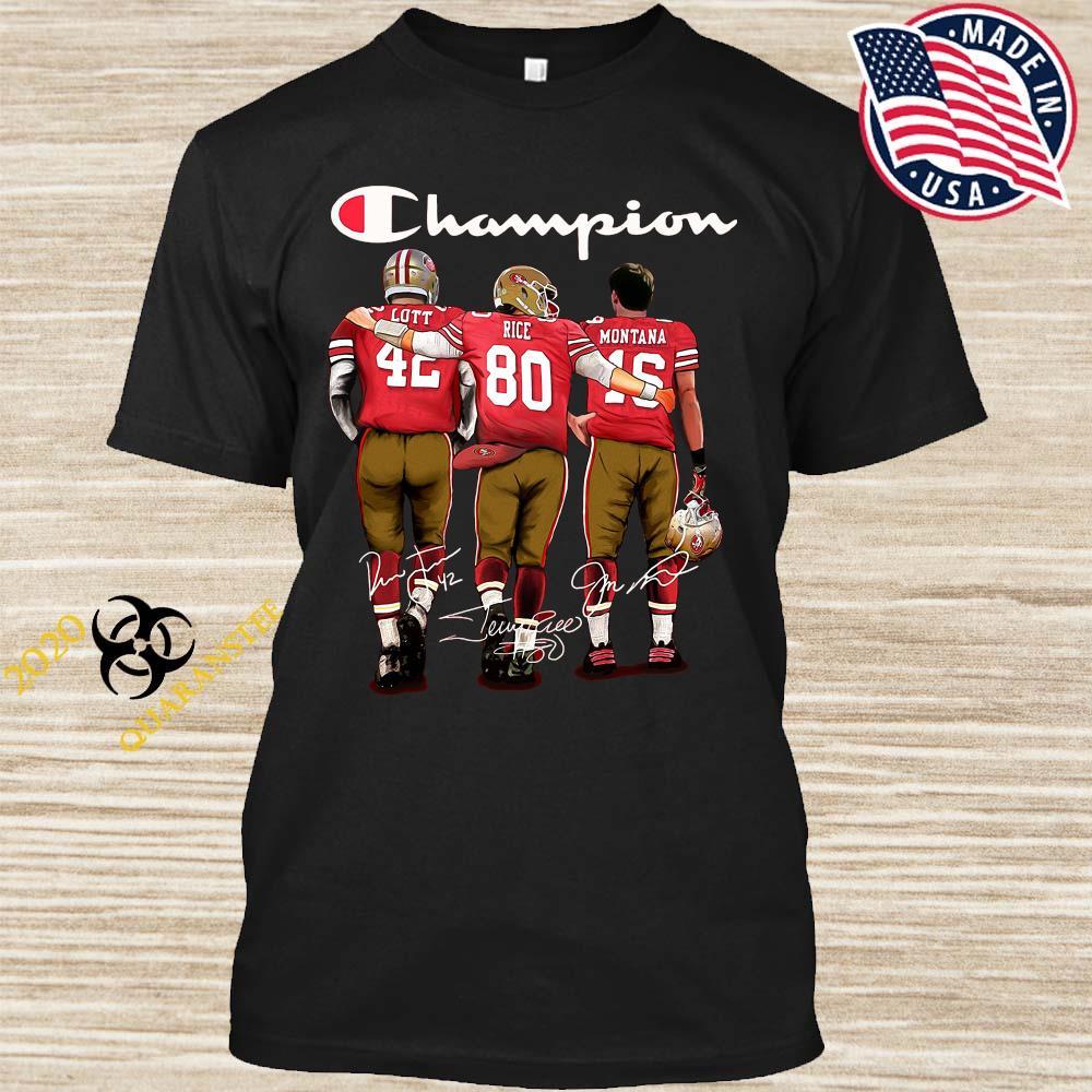 San Francisco 49ers Lott Rice And Montana Champion Signatures Shirt