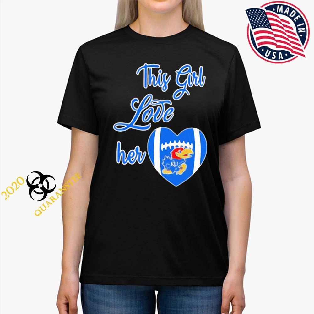 This Girl Love Hear Heart Kansas Jayhawks Football Shirt Ladies Tee