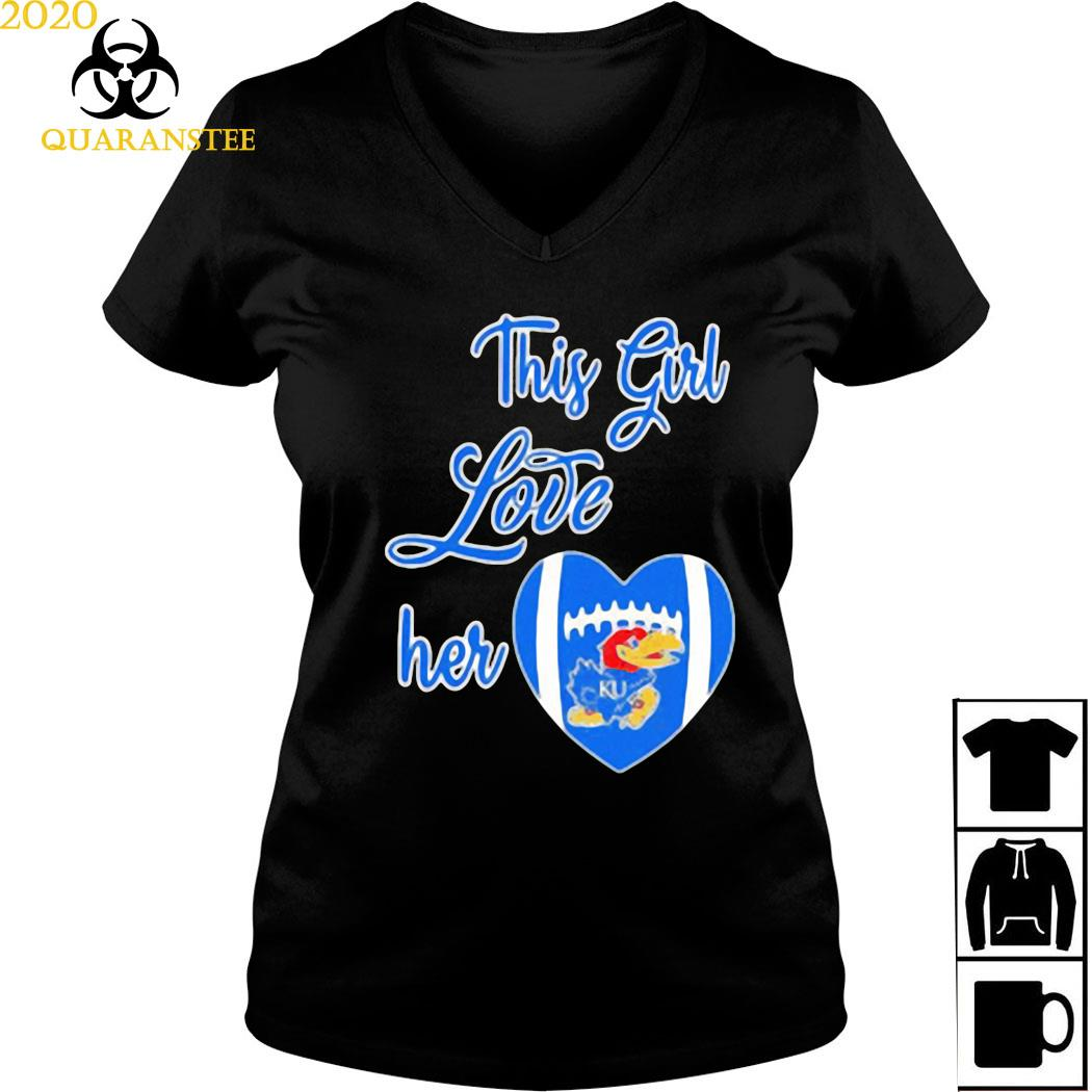 This Girl Love Hear Heart Kansas Jayhawks Football Shirt Ladies V-neck