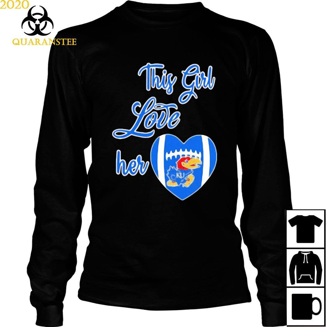 This Girl Love Hear Heart Kansas Jayhawks Football Shirt Long Sleeved