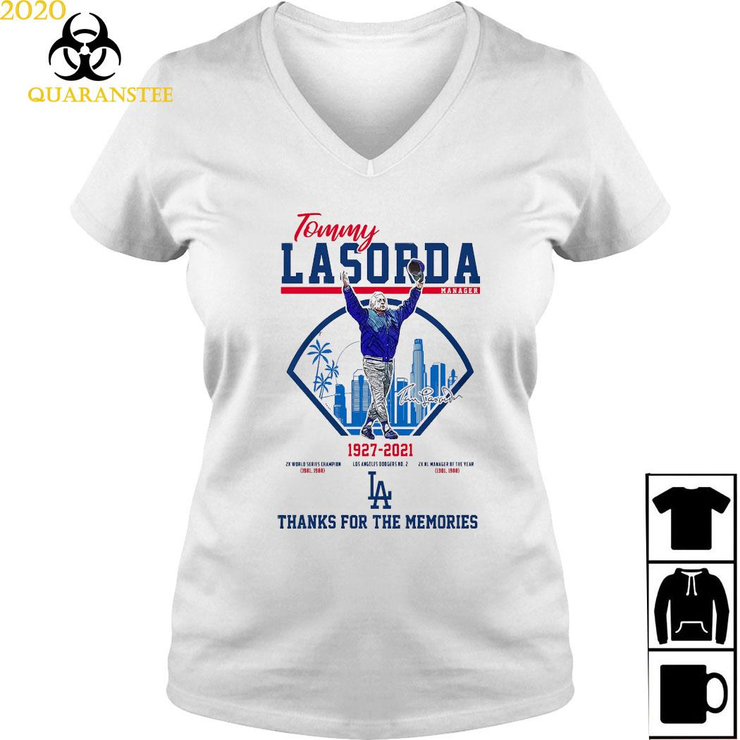 Tommy Lasorda Manager 1927 2021 Thanks For The Memories Shirt Ladies V-neck